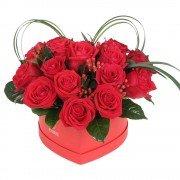 Sombrerera Grande Corazón con 20 Rosas