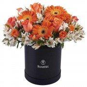 Sombrerera Negra Grande Con Rosas Y Flores