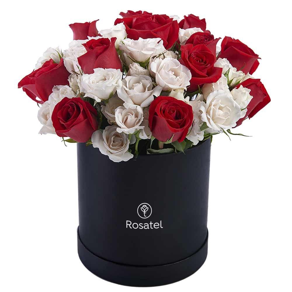 Sombrerera Negra Grande con 15 Rosas y Mini Rosas
