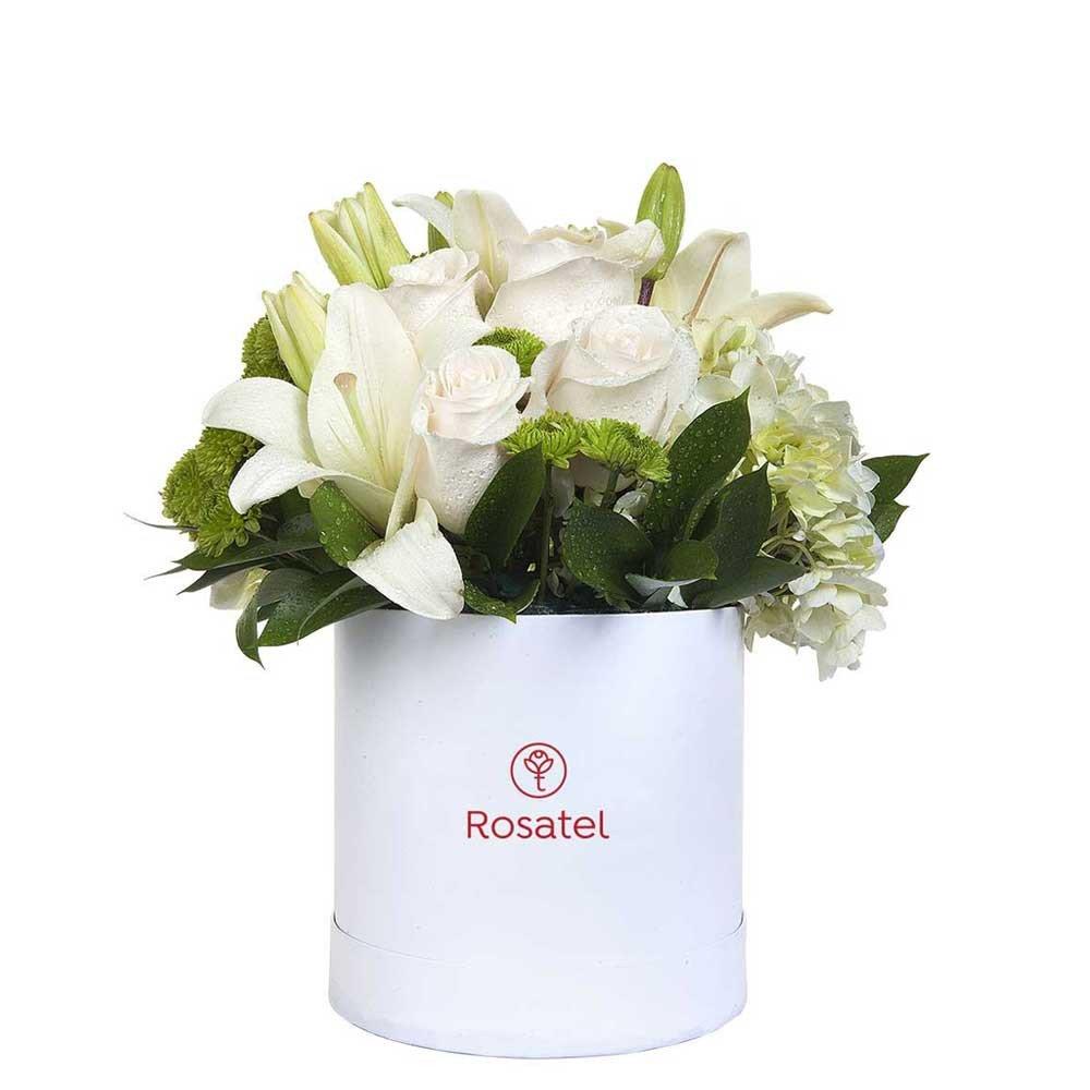 Sombrerera Blanca Mediana con Rosas y Flores