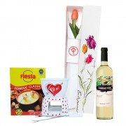 Caja con Tulipán, Kit Fondue y Vino Carácter Chardonnay - Chenin