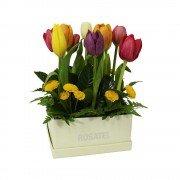 Sombrerera Cuadrada Perla con 12 Tulipanes