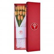 Caja Roja Con 12 Tulipanes
