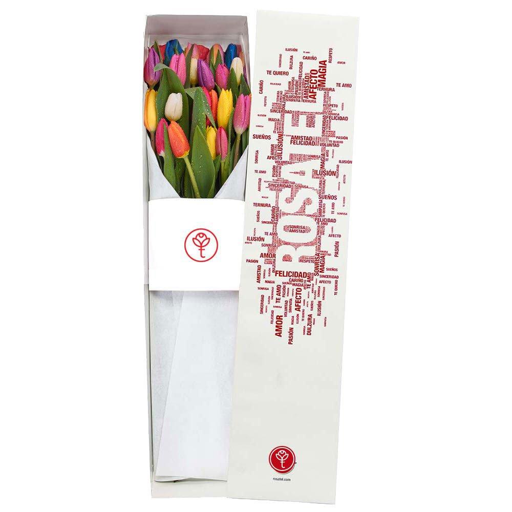 Caja Blanca con 20 Tulipanes Rosatel
