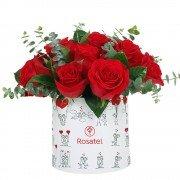 Sombrerera Mediana Amor con 12 Rosas