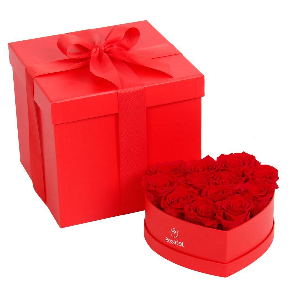 Sombrerera Mediana Corazón con 12 Rosas Preservadas Rosatel