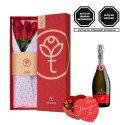 Caja 3R Roja con 6 Rosas, Asti Zonin y Bombones Rosatel