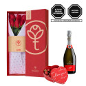 Caja 3R Roja Rosatel con 6 Rosas, Asti Zonin y Bombones Rosatel