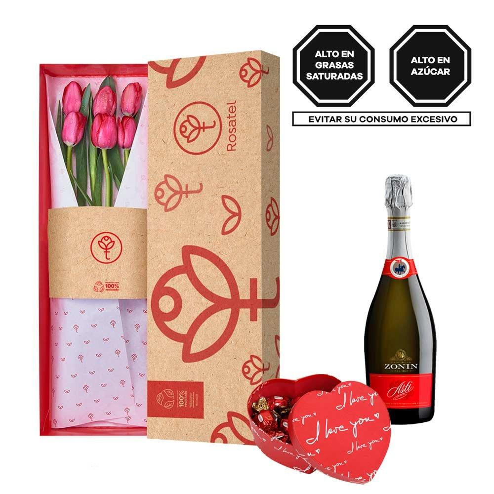 Caja 3R Natural con 6 Tulipanes, Asti Zonin y Bombones Rosatel