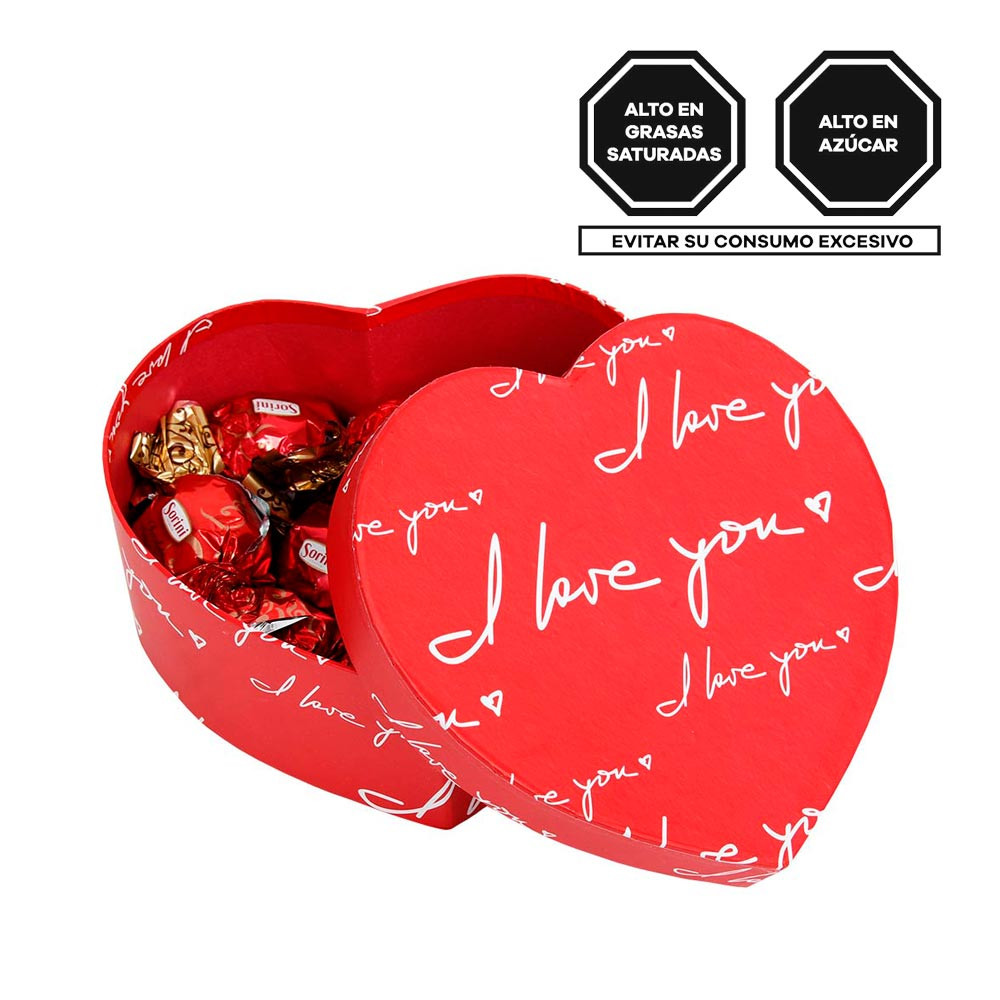 Caja Corazón I love you con bombones Sorini Rosatel