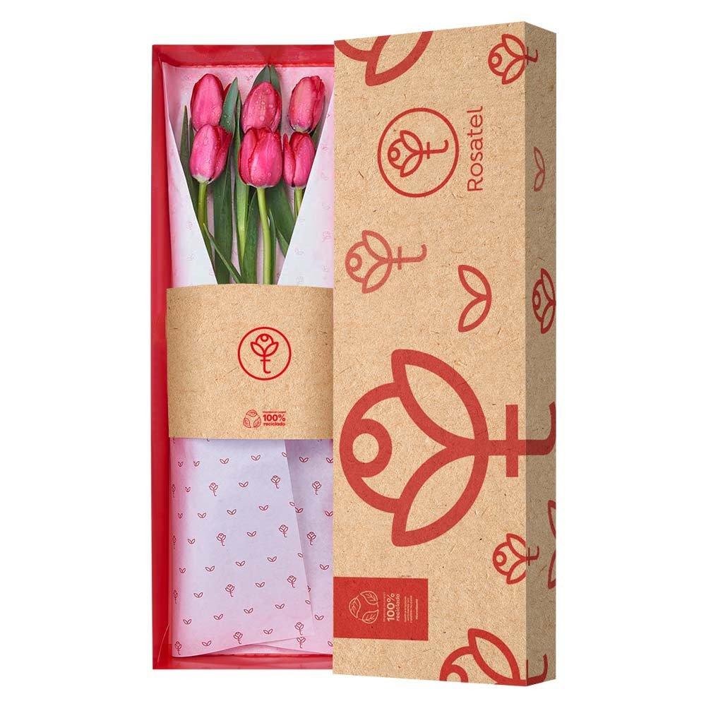 Caja 3R Natural Rosatel con 6 Tulipanes Rojos Rosatel
