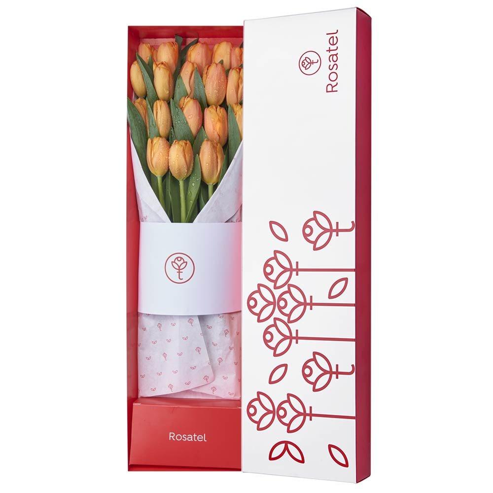 Caja Rosatel con 18 Tulipanes Naranjas Rosatel