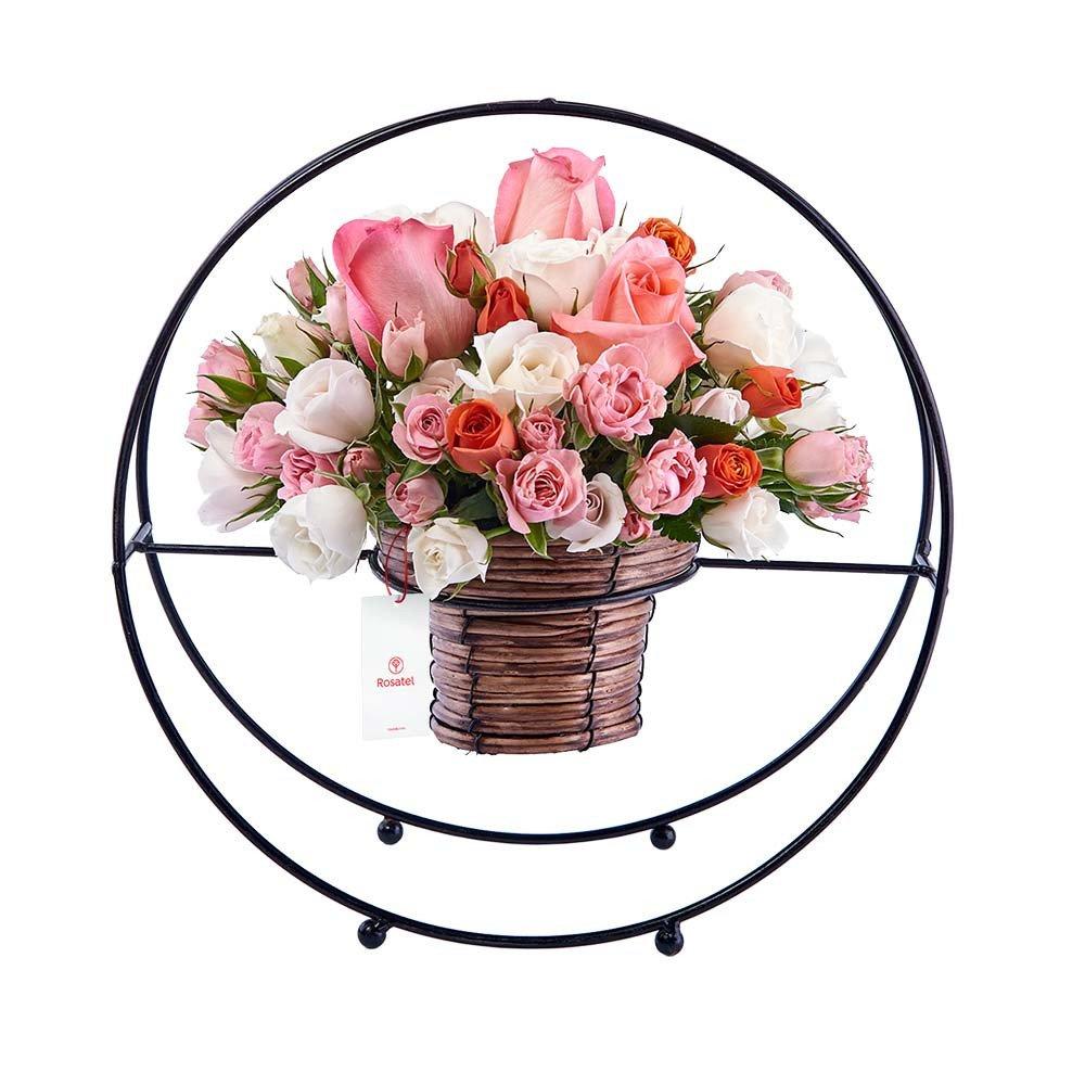 Canasta Detalle Aro con Rosas y Mini Rosas Rosatel