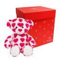 Hugo mediano corazones rojos en caja roja Rosatel.