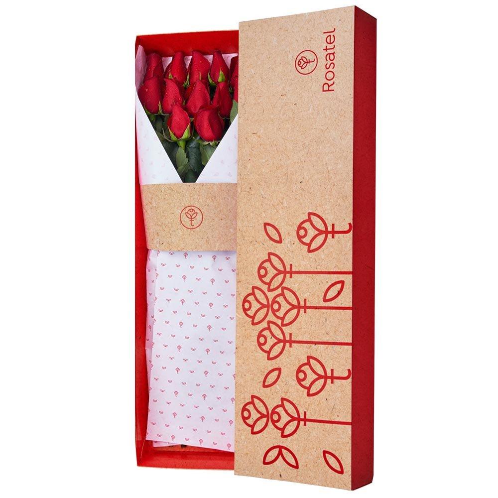 Caja 3R Natural Rosatel con 12 Rosas Rojas Rosatel