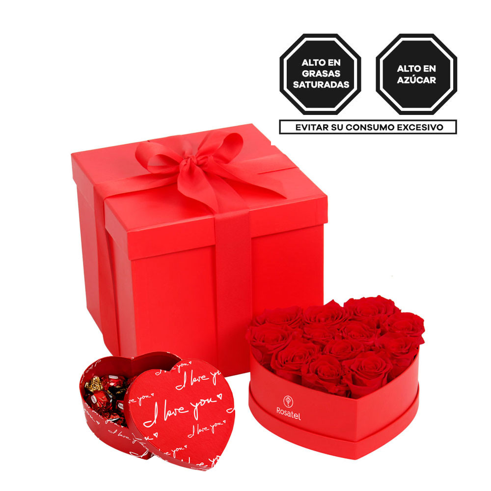 Sombrerera Corazón con 12 Rosas Rojas Preservadas y Bombones Sorini Rosatel