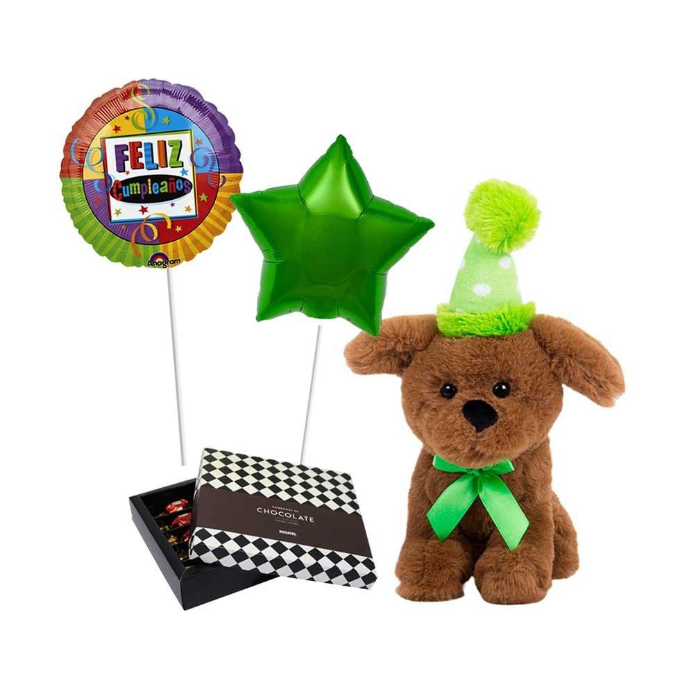 errito Cumpleañero Verde, chocolates para regalar Sorini y Globos Rosatel