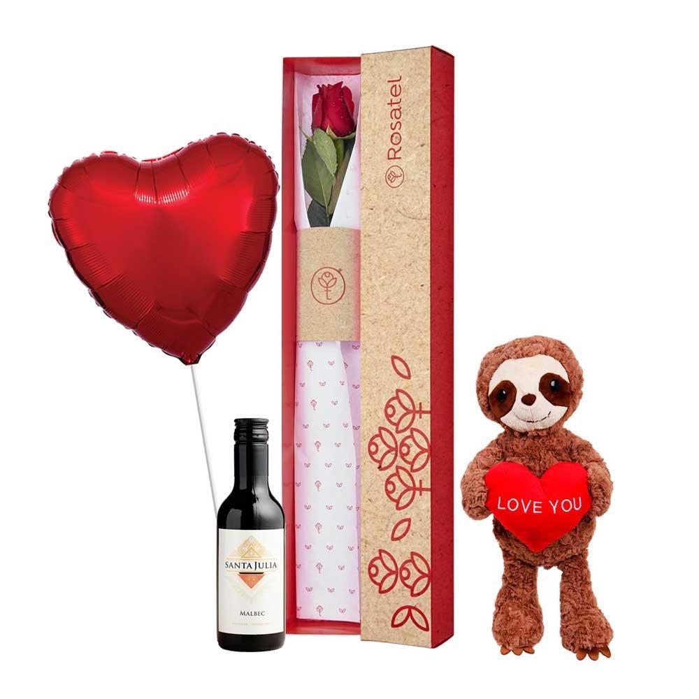 Caja 3R Natural Rosatel con Rosa, Perezoso Love You, Vino y Globo Rosatel