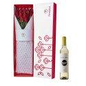 Caja Blanca con 12 Rosas Rojas y vino Santa Julia Tardío Rosatel