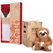 Caja 3R Natural con 12 Rosas Rojas y Bowie Perezoso