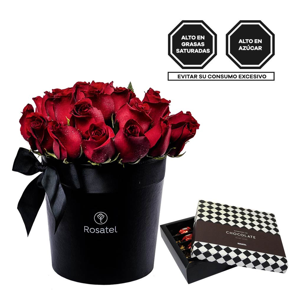 Sombrerera Negra Grande con 24 Rosas Rojas y Bombones Sorini Rosatel
