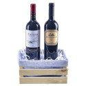 Vinos argentinos Enemigo Malbec 750 ml. y Catena Cabernet 750 ml. en jaba de madera Rosatel