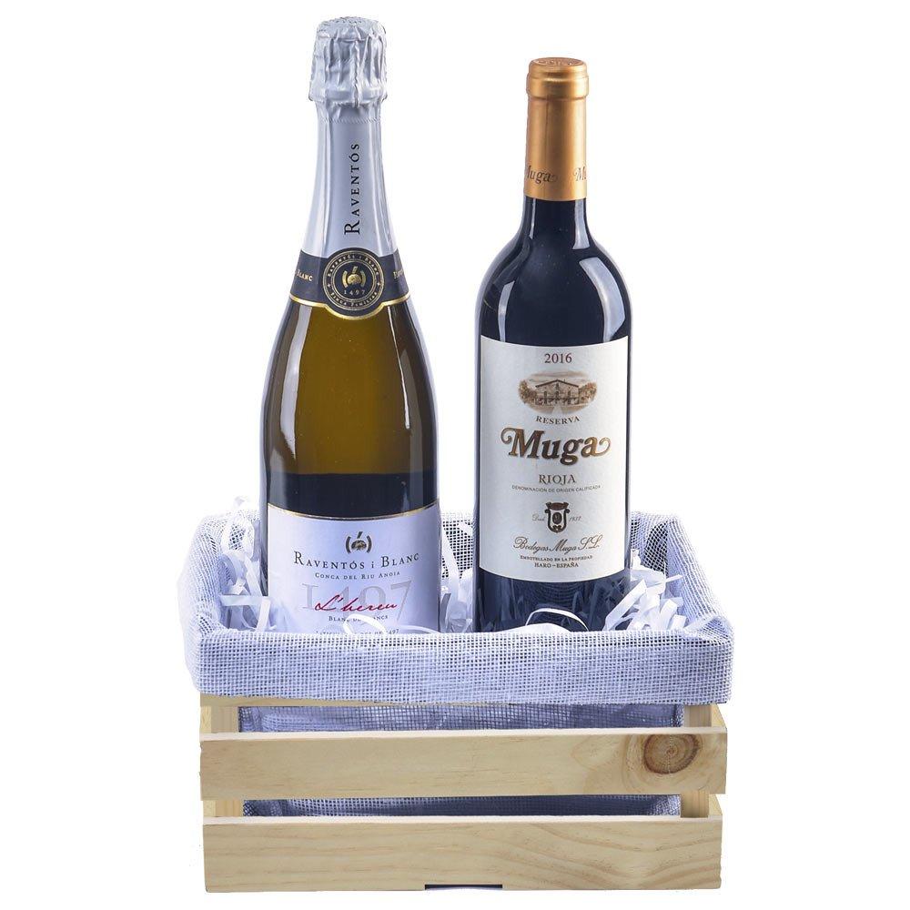 Vinos españoles Muga Reserva 750 ml y Raventós I Blanc de Blancs 750 ml. en jaba de madera Rosatel