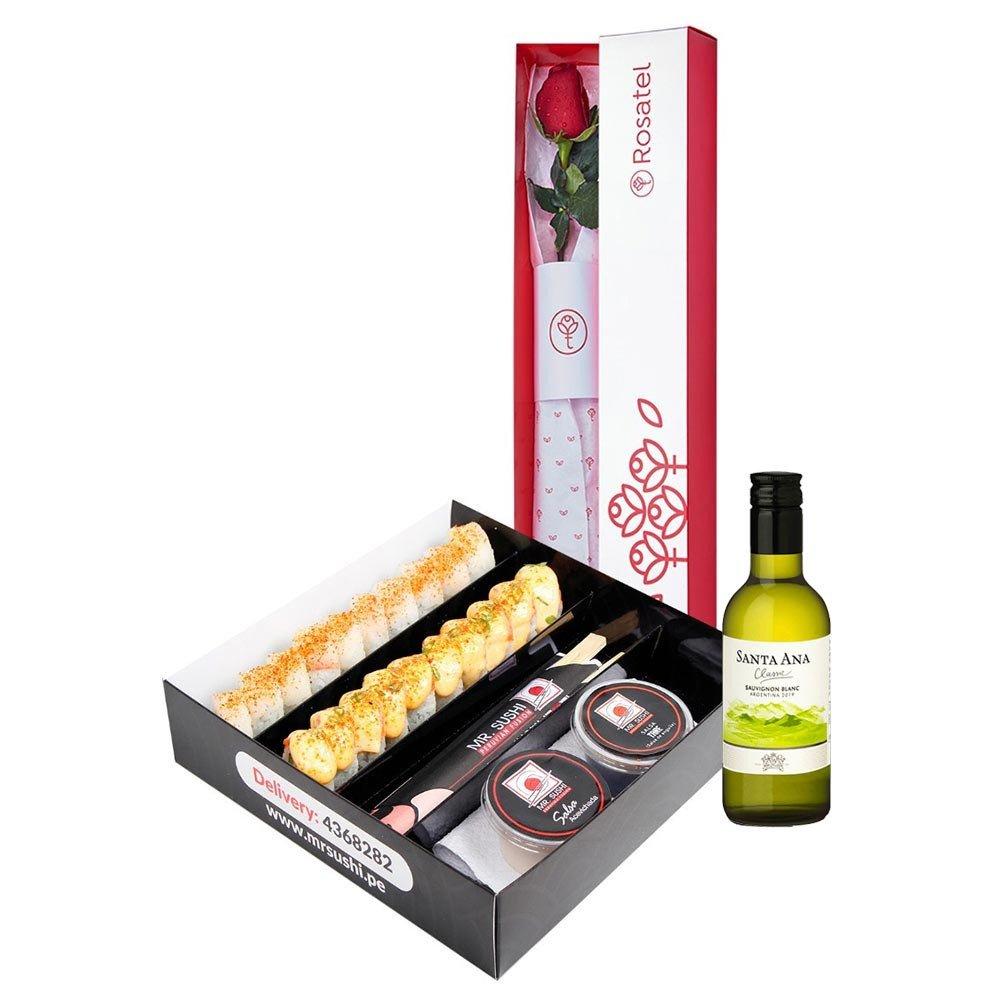 Caja con 1 Rosa, Santa Ana y Maki Box Rosatel