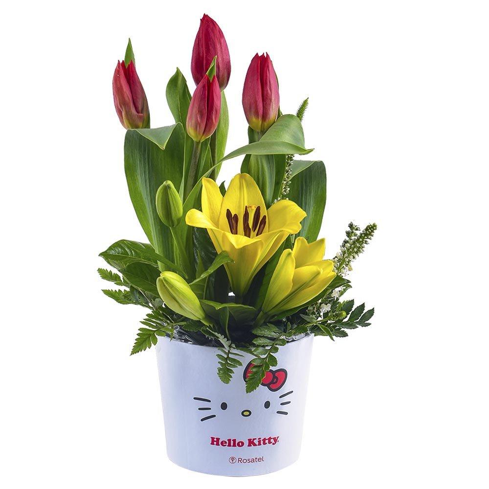 Sombrerera línea lazos de Hello Kitty con 4 tulipanes rojos y flores Rosatel