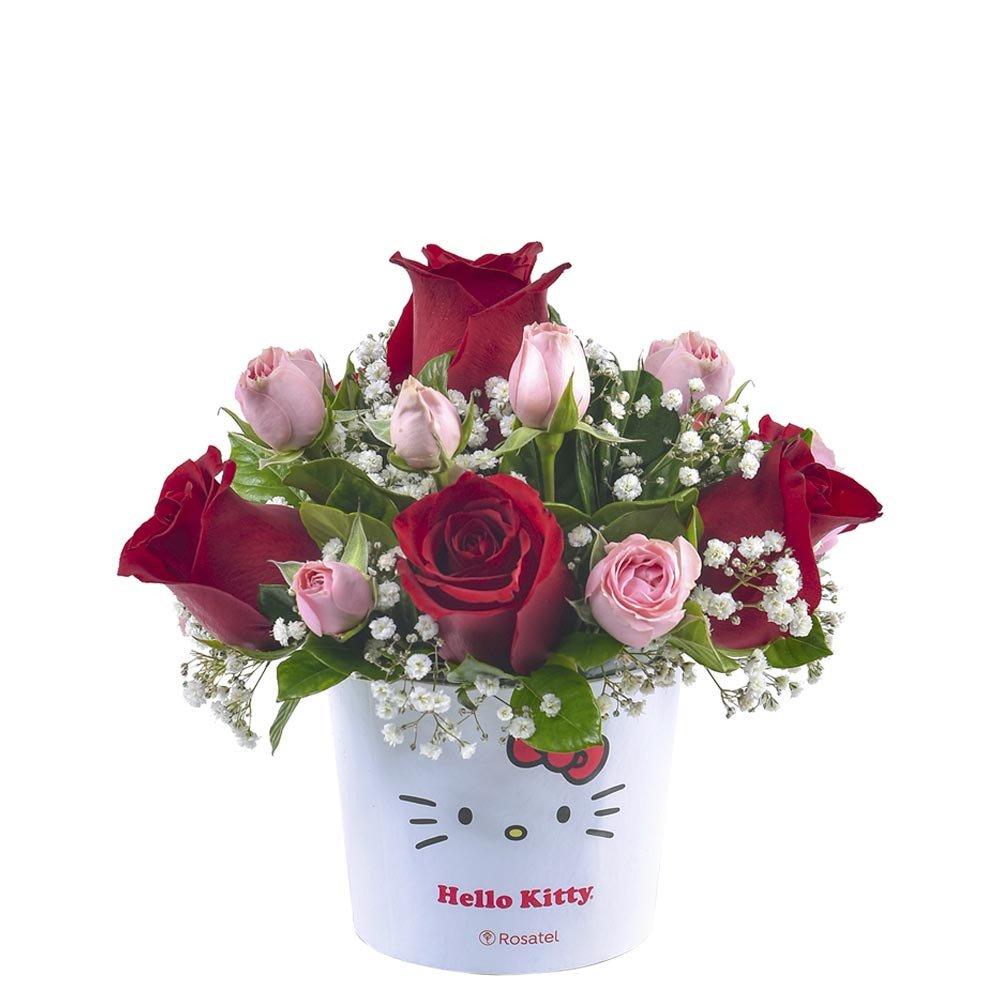Sombrerera Lazos Hello Kitty con Rosas y Mini Rosas Rosatel