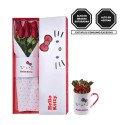 Caja Lazos Hello Kitty con 6 Rosas y Taza con Bombones Sorini Rosatel