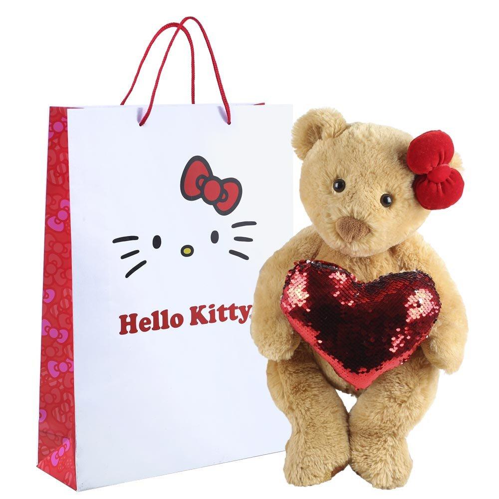 Huguette con corazón brillante y lazo rojo en bolsa línea lazos de Hello Kitty Rosatel
