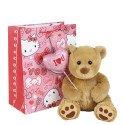 Hugo con globo corazón de tela I Love You en bolsa línea corazones de Hello Kitty Rosatel