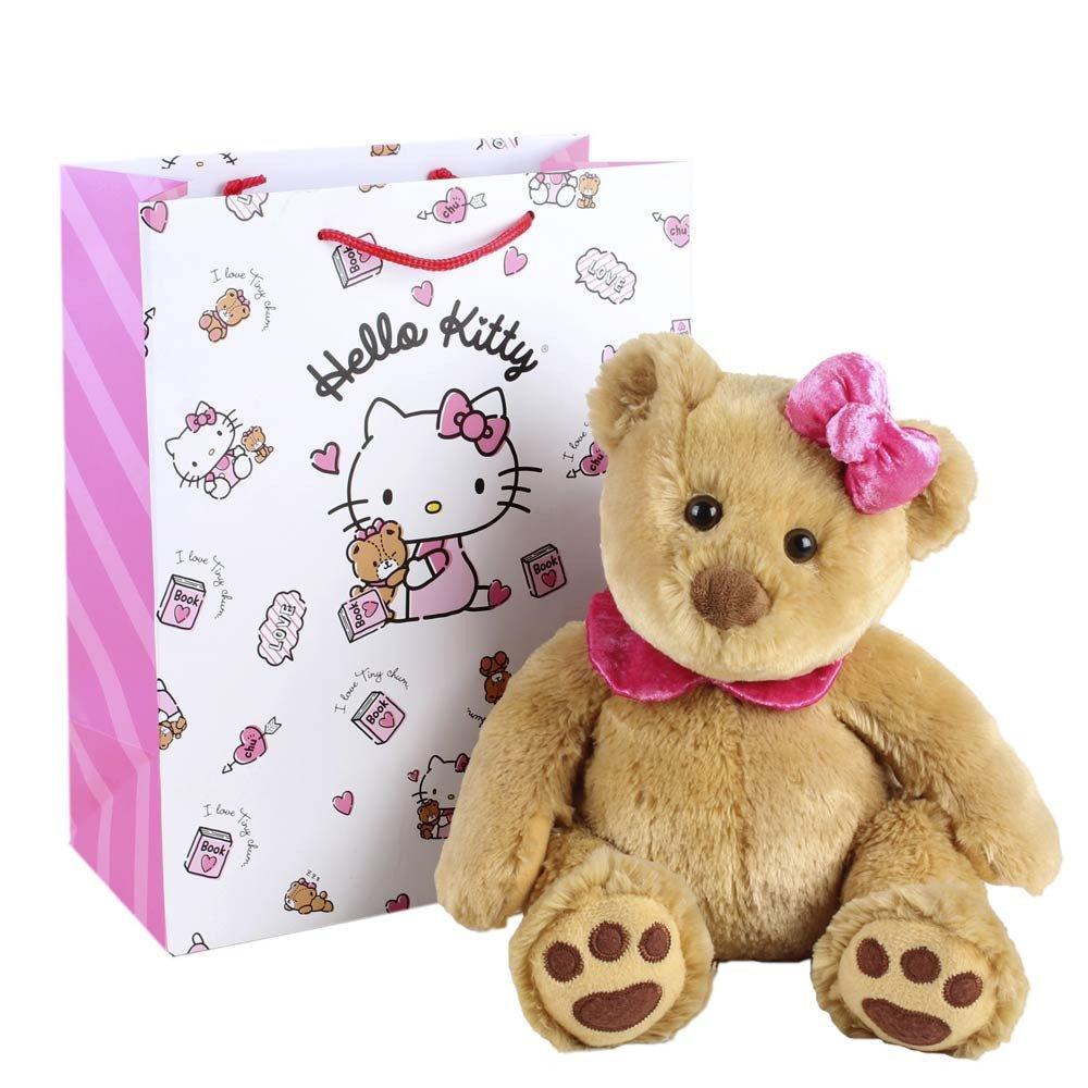 Huguette con lazo y collarín rosado en bolsa línea arcoíris de Hello Kitty Rosatel