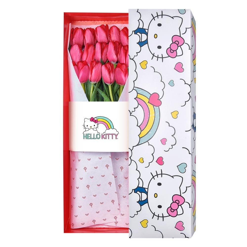 Caja Arcoiris Hello Kitty con 15 Tulipanes Rojos Rosatel