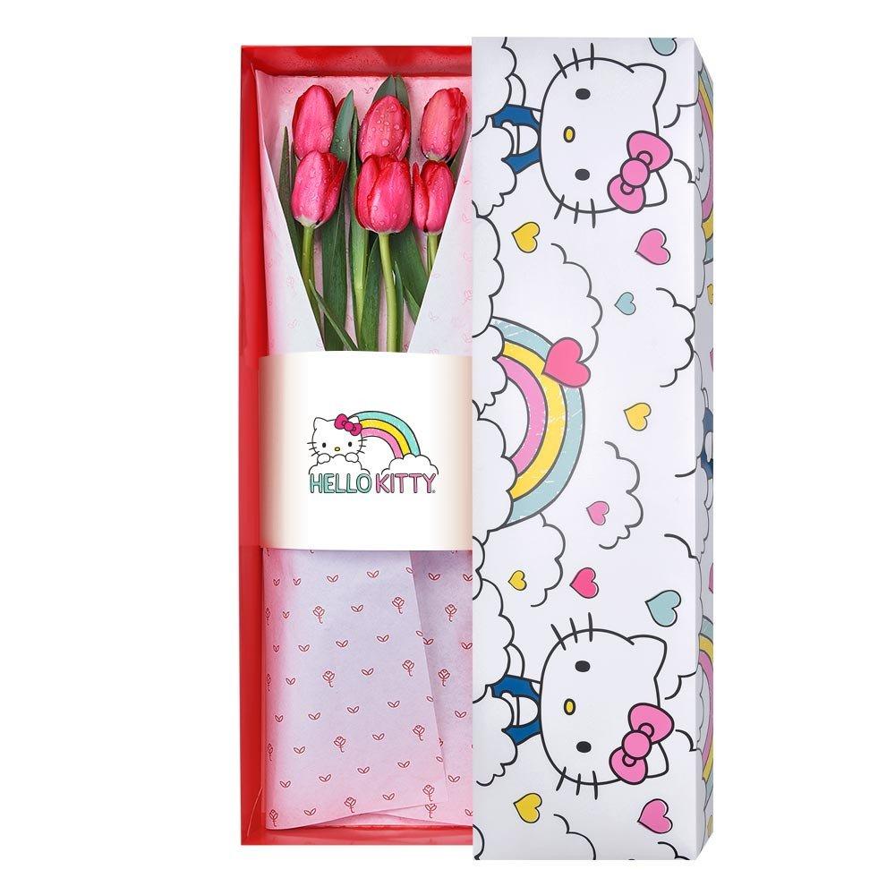 Caja Arcoiris Hello Kitty con 6 Tulipanes Rojos Rosatel
