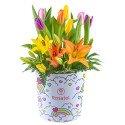Sombrerera Arcoíris Hello Kitty con 10 Tulipanes y Liliums Rosatel