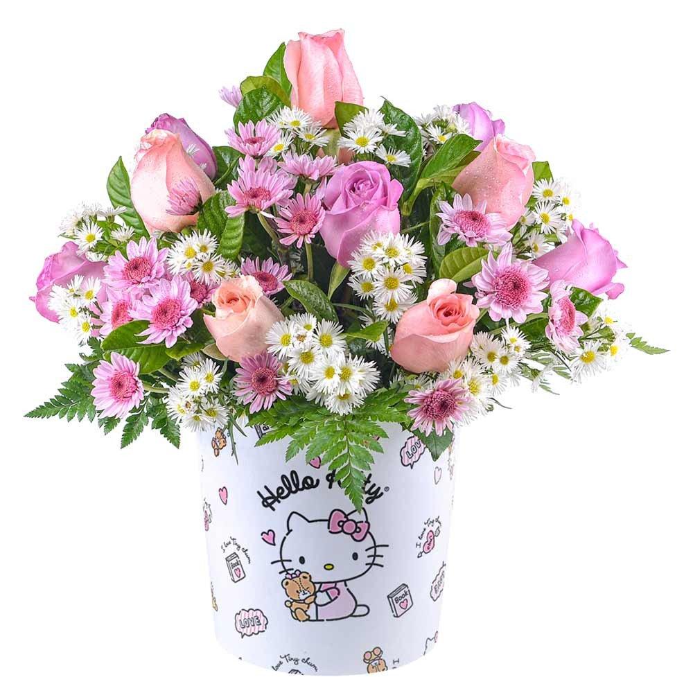 Sombrerera Línea Pequeña Hello Kitty con 12 Rosas y Flores Rosatel