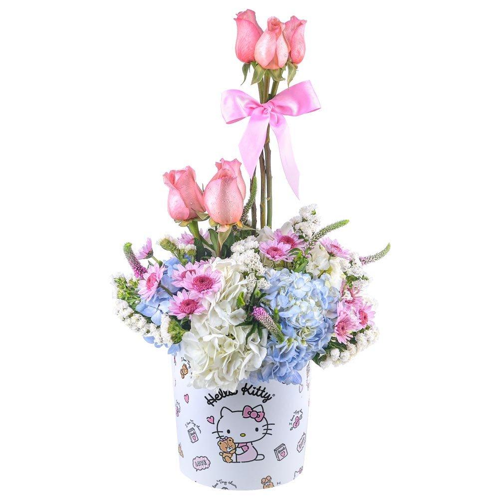 Sombrerera Línea Pequeña Hello Kitty Topiario Rosas y Flores Rosatel