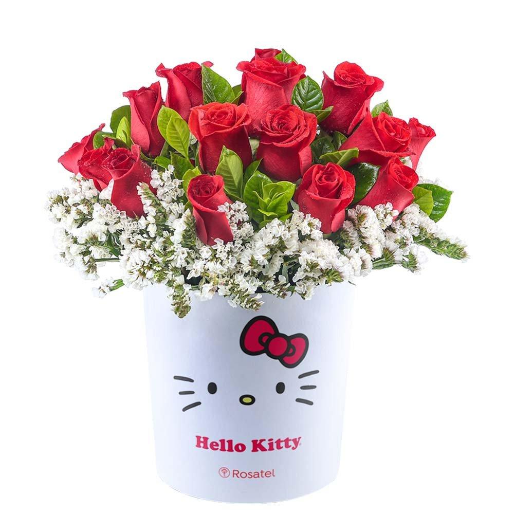 Sombrerera Lazos Hello Kitty con 15 Rosas Rojas Rosatel