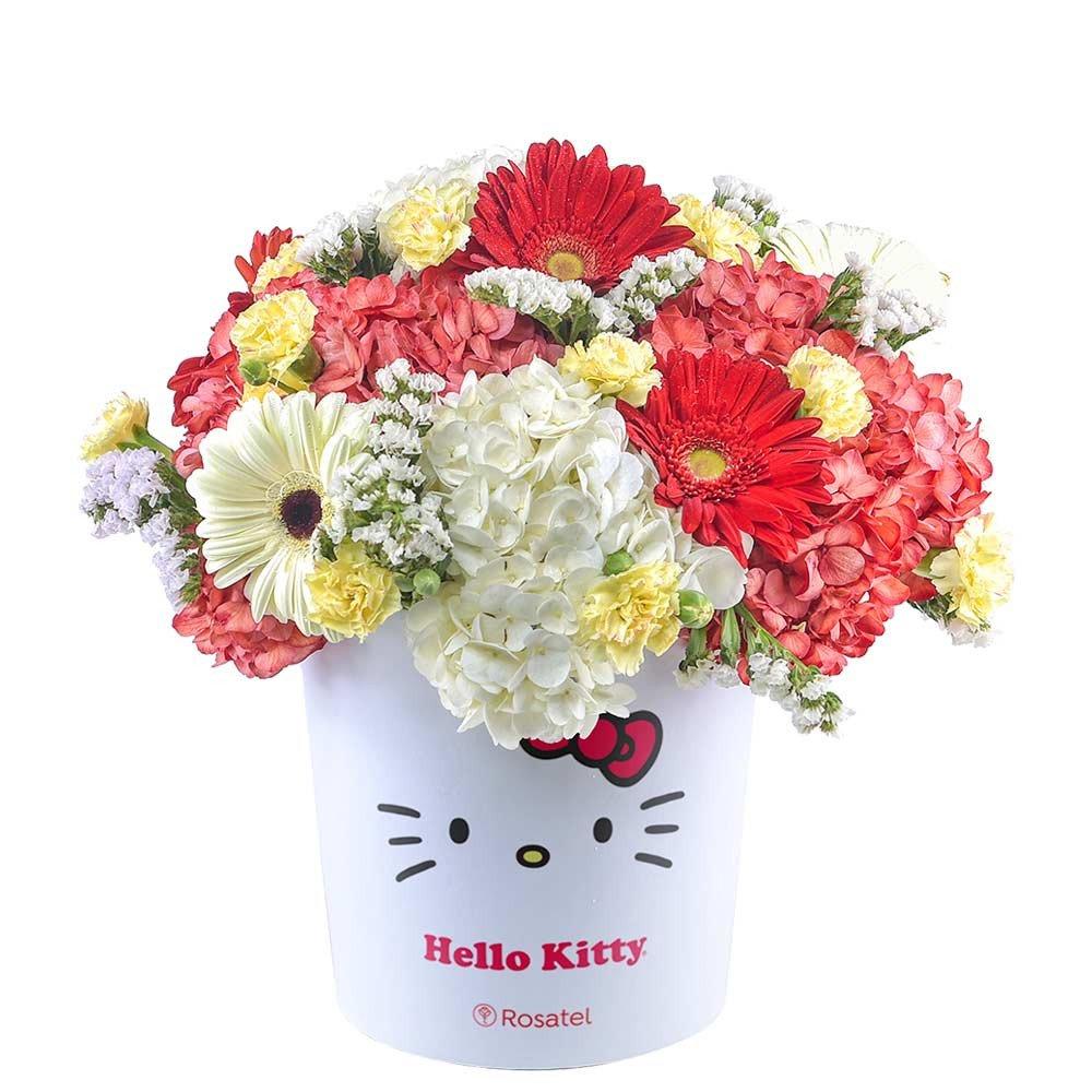 Sombrerera Lazos Hello Kitty con Hortensias y Flores Rosatel