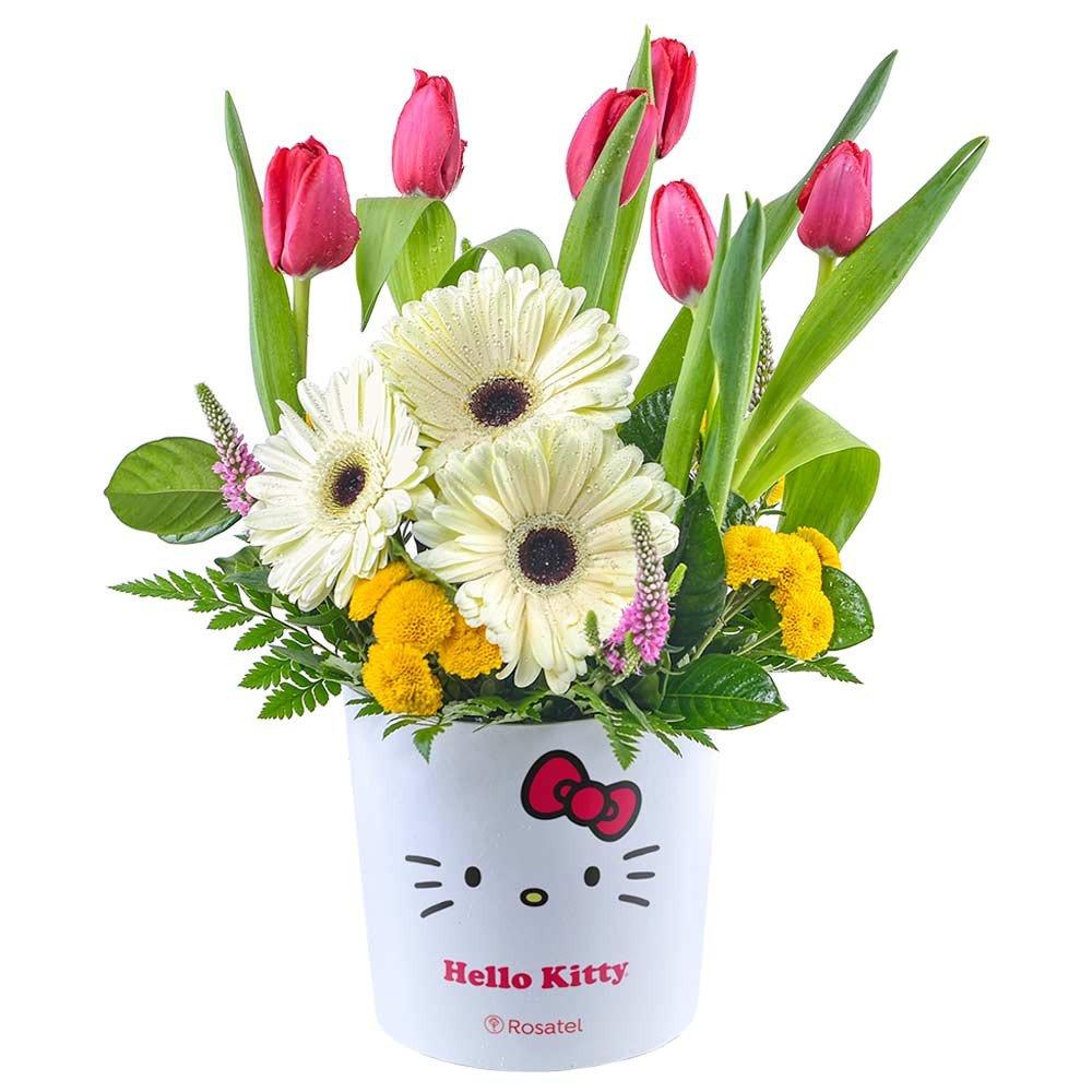 Sombrerera Lazos Hello Kitty con Tulipanes Rojos y Gerberas Rosatel
