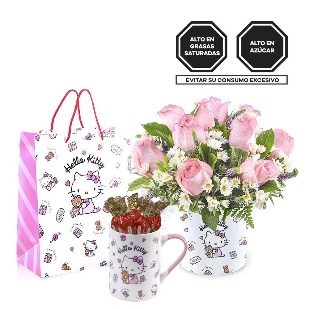 Sombrerera Línea Pequeña Hello Kitty con Rosas y Taza con Bombones Sorini Rosatel