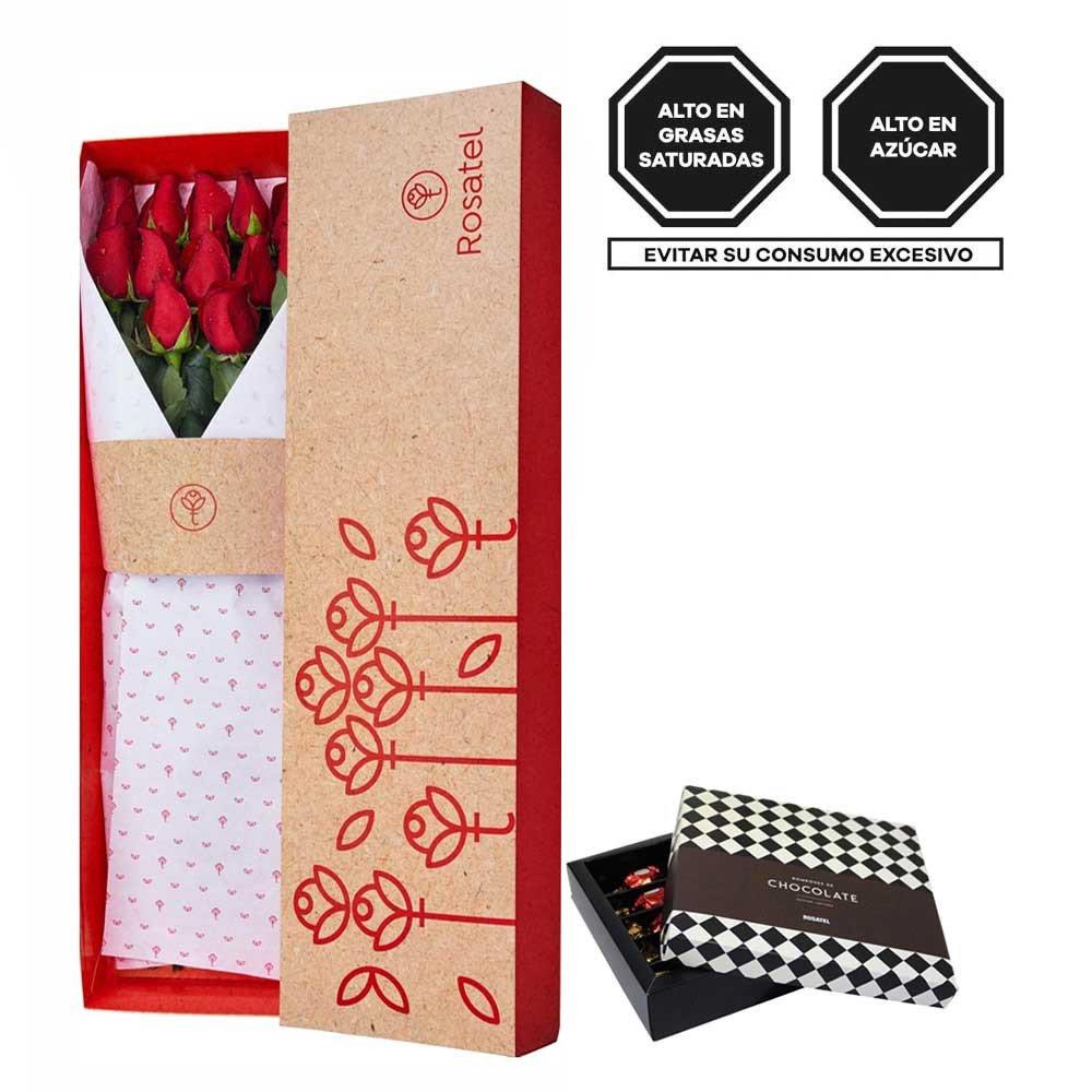Caja 3R Natural Rosatel con 12 Rosas y Bombones Sorini Rosatel
