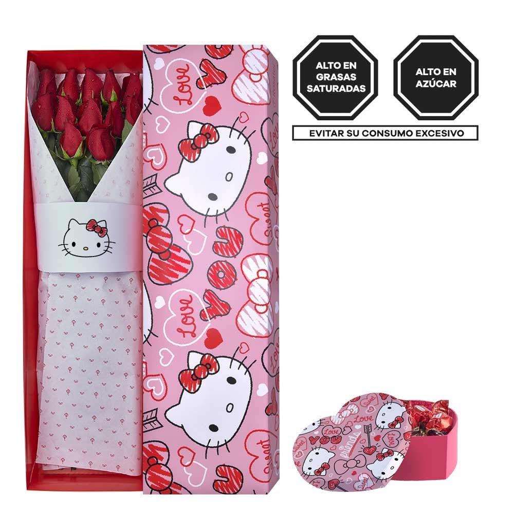 Pack Corazones Hello Kitty 12 Rosas Rojas y Bombones Sorini Rosatel
