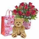 Pack Amor 12 Rosas y Hugo Globo Love You Rosatel