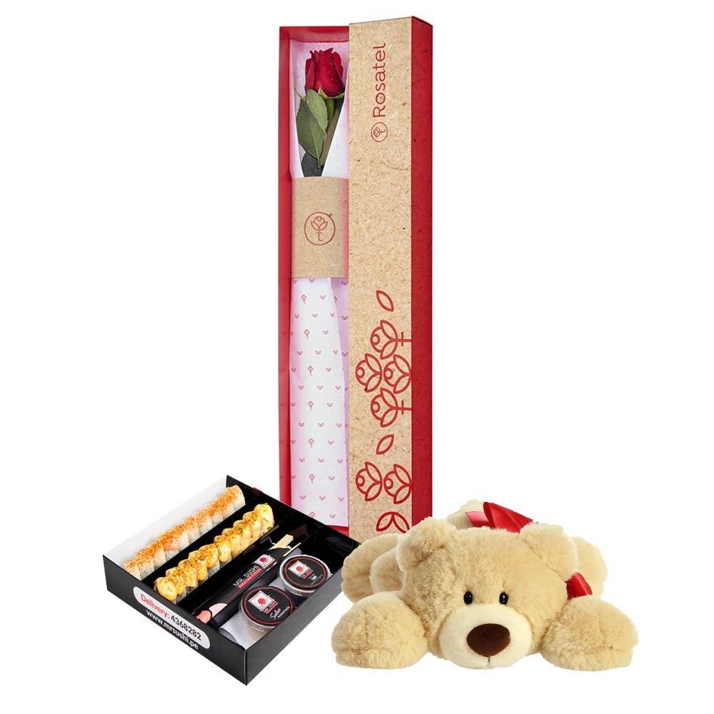 Caja con 1 Rosa Oso Hugga y Mr Sushi Maki Box Rosatel