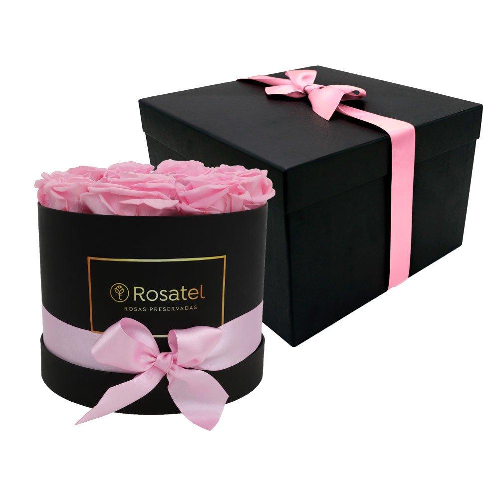 Sombrerera Negra con 12 Rosas Preservadas Rosadas Rosatel