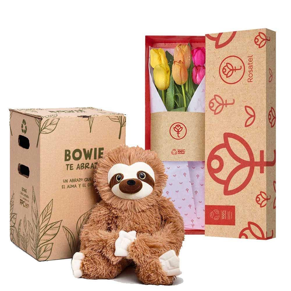 Caja 3R Natural con 6 Tulipanes y Bowie Rosatel