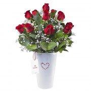 Arreglo en Base Lata Blanco con 15 Rosas Rojas